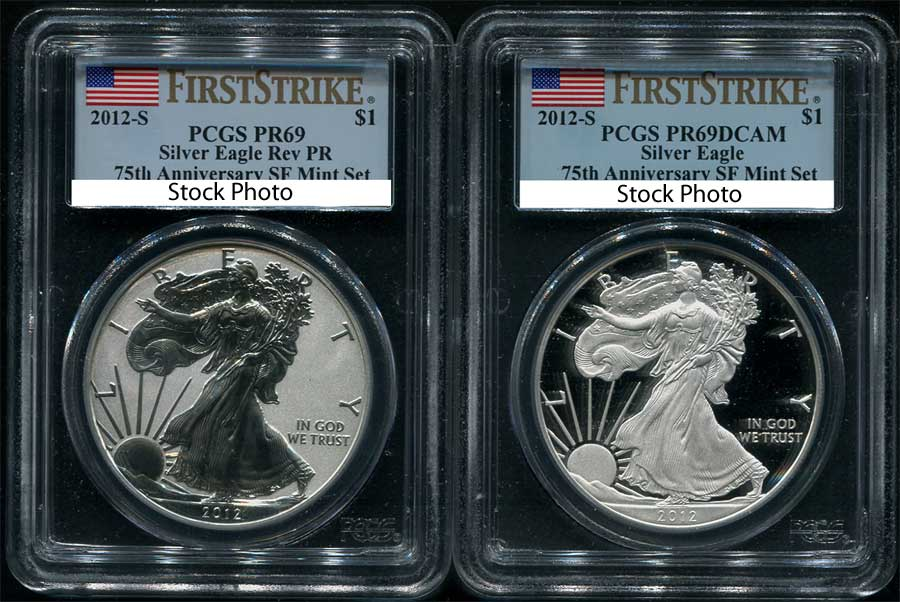 Obverse of 2012-S First Strike American Silver Eagle PCGS PR-69 DCAM REV PR