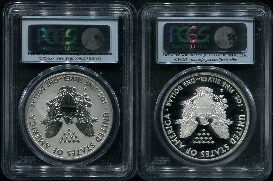 Reverse of 2012-S First Strike American Silver Eagle PCGS PR-69 DCAM REV PR