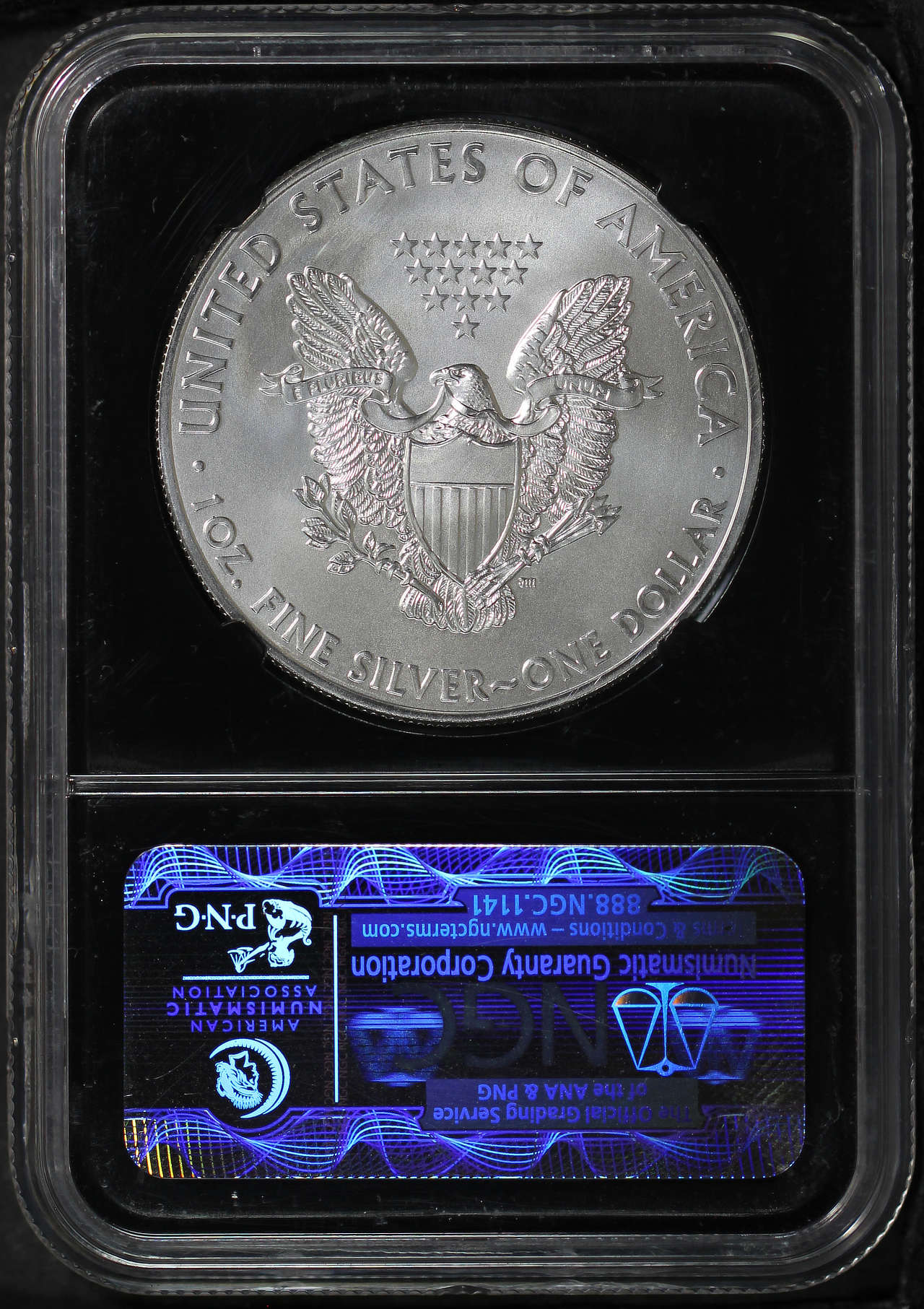 Reverse of 2012 American Silver Eagle NGC MS-70