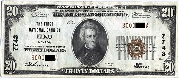 Image of a First National Bank of Elko Nevada 20 Dollar Bill