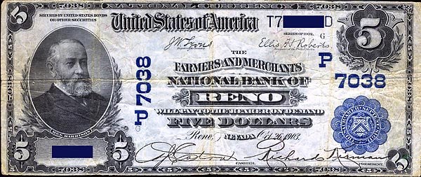Image of a Farmers and Merchants National Bank of Reno 5 Dollar Bill