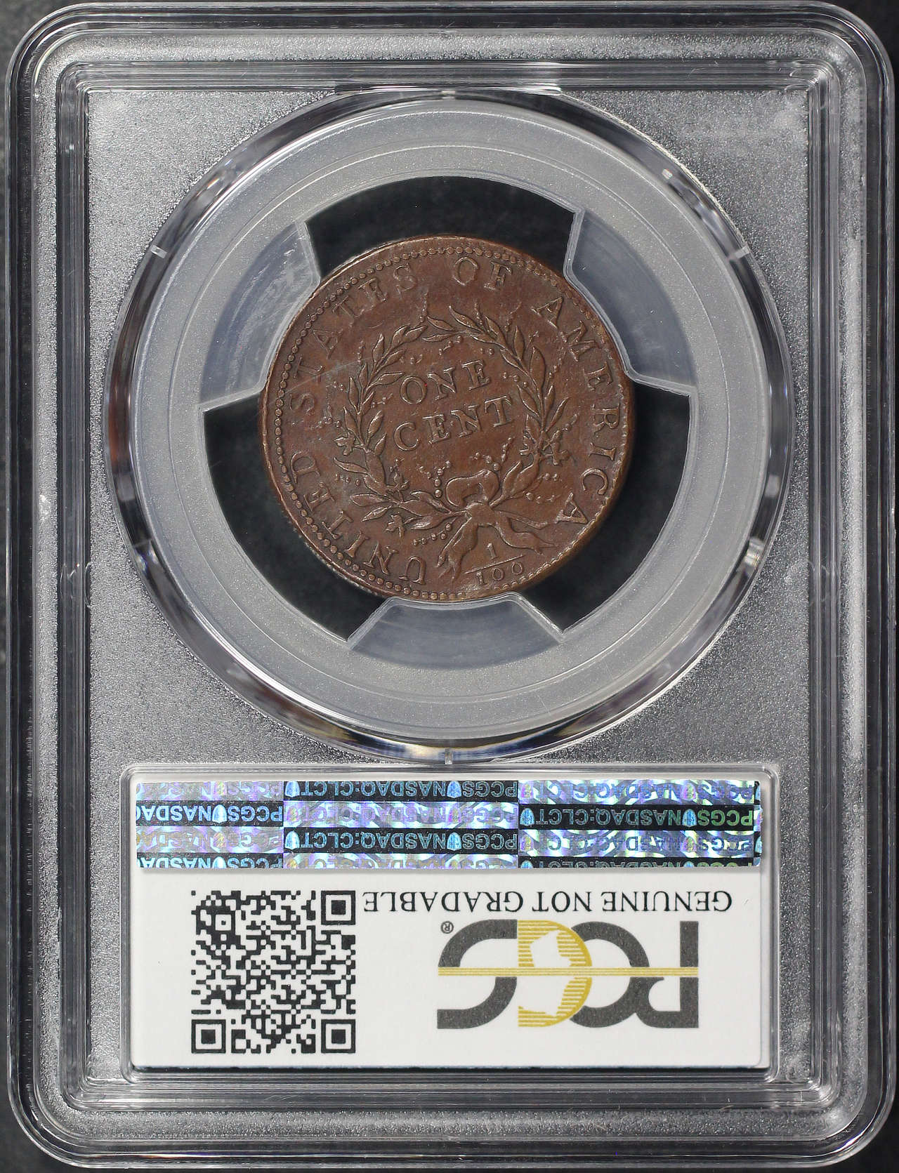 Reverse of 1793 Wreath Vine and Bars Edge Flowing Hair Large Cent PCGS GENUINE