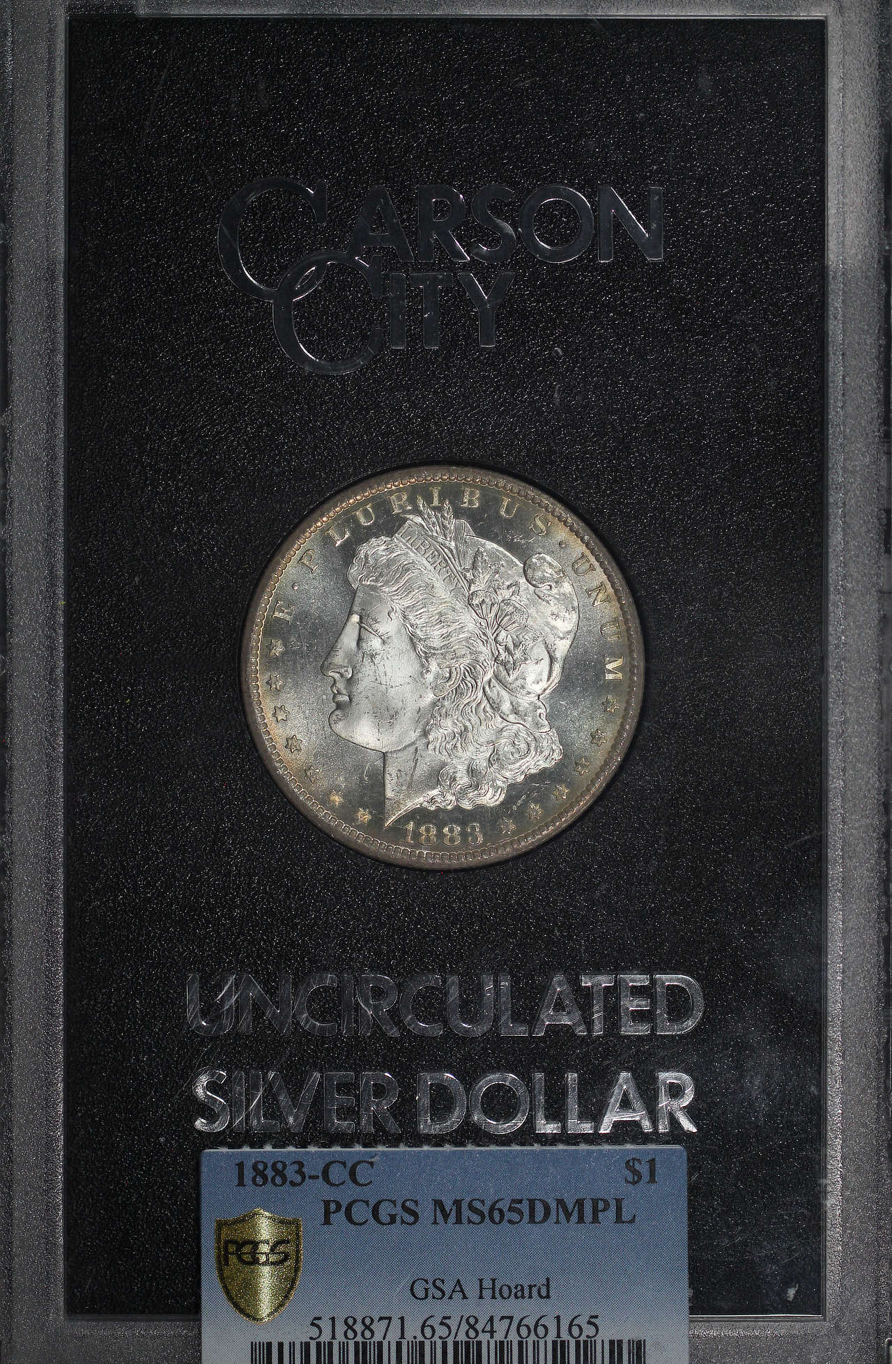Obverse of 1883-CC GSA Morgan Dollar PCGS MS-65 DMPL