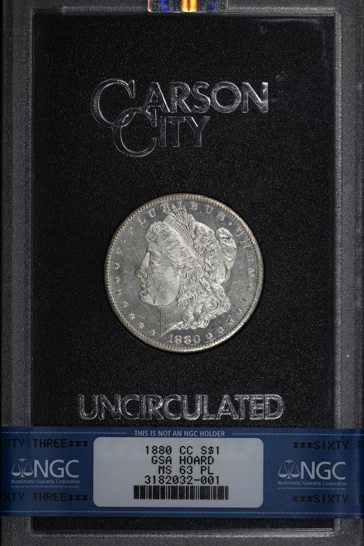 Obverse of 1880-CC GSA Morgan Dollar NGC MS-63 PL