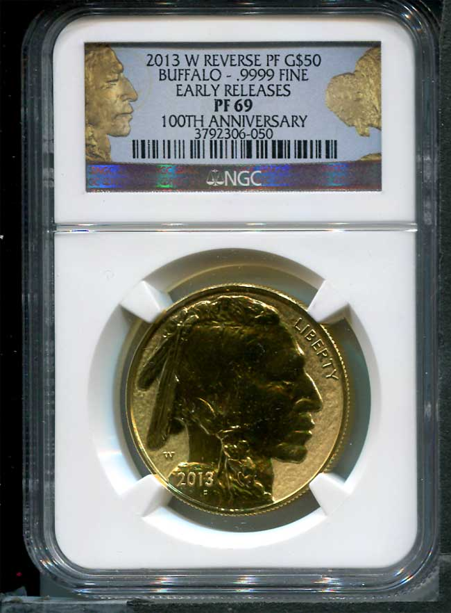 Obverse of 2013-W Reverse Proof $50 American Gold Buffalo NGC PR-69 Early Release