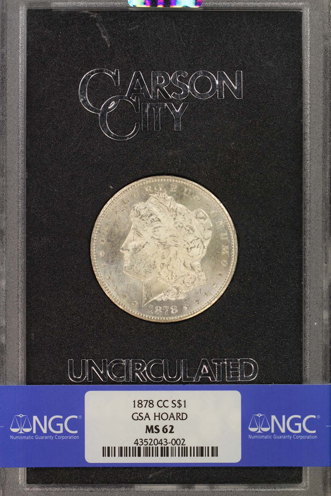 Obverse of 1878-CC GSA VAM 11 Morgan Dollar NGC MS-62