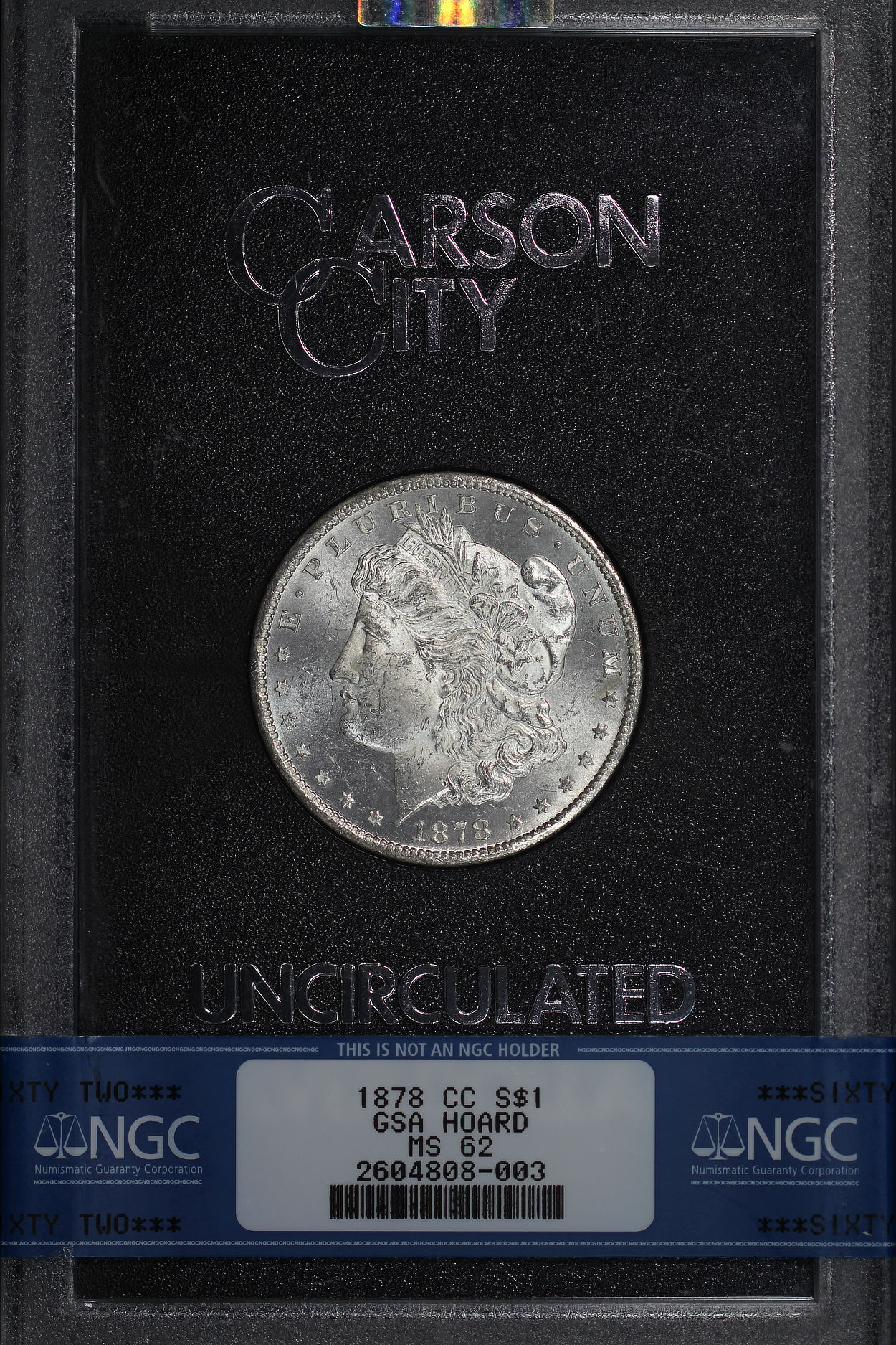 Obverse of 1878-CC GSA Morgan Dollar NGC MS-62