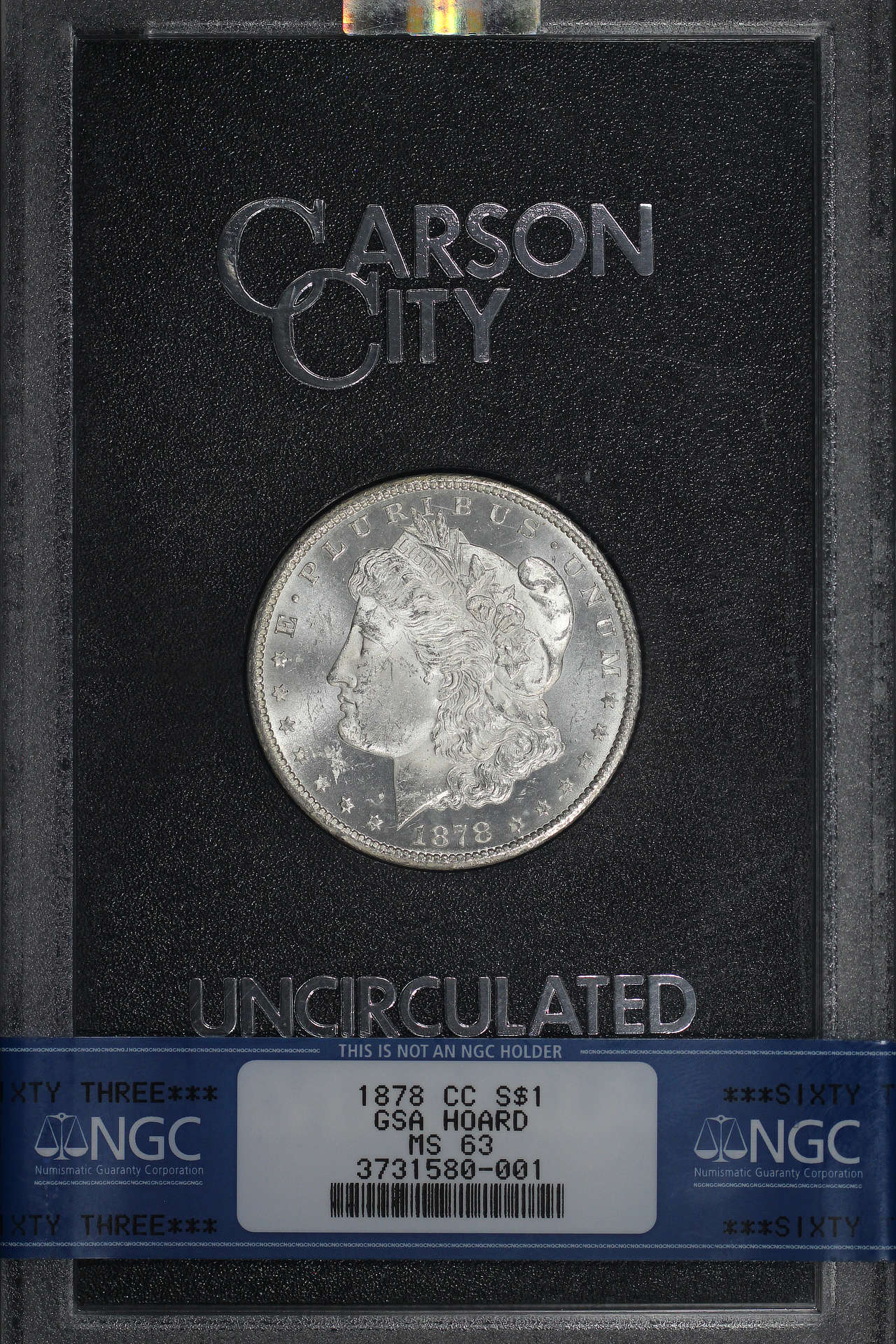 Obverse of 1878-CC GSA Morgan Dollar NGC MS-63
