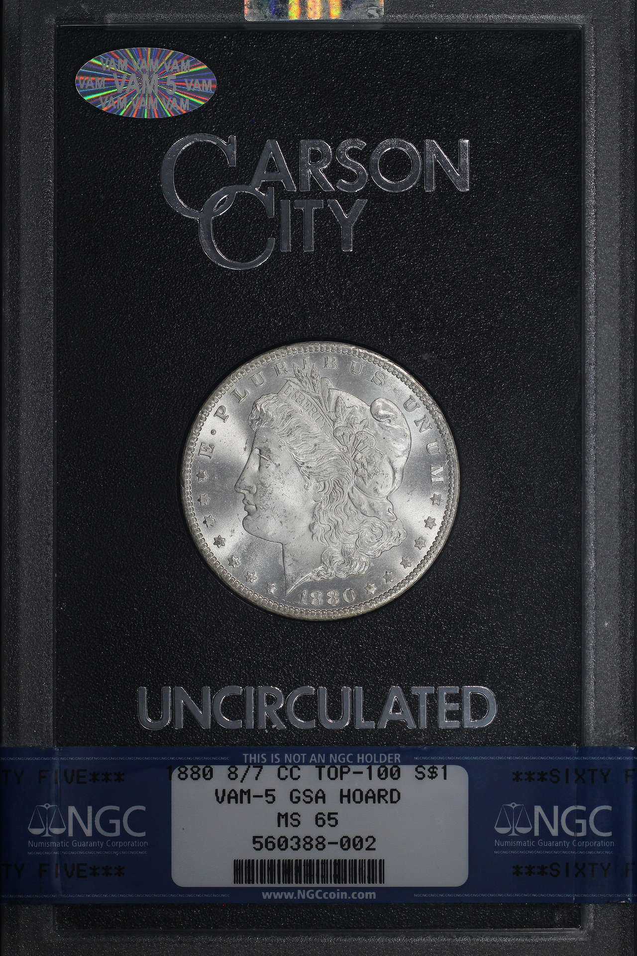 Obverse of 1880-CC GSA 8/7 Top 100 VAM 5 Morgan Dollar NGC MS-65