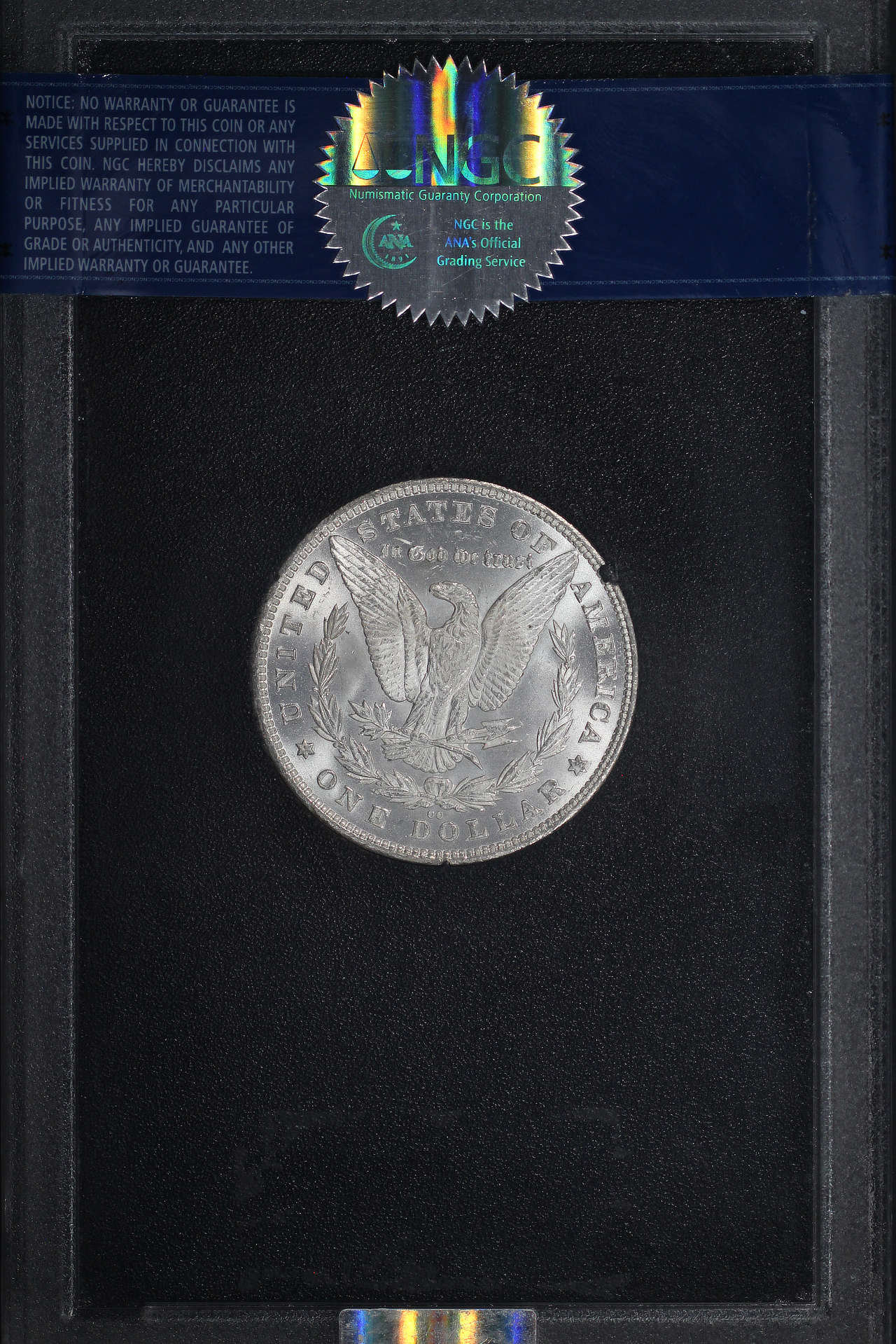 Reverse of 1880-CC GSA 8/7 Top 100 VAM 5 Morgan Dollar NGC MS-65