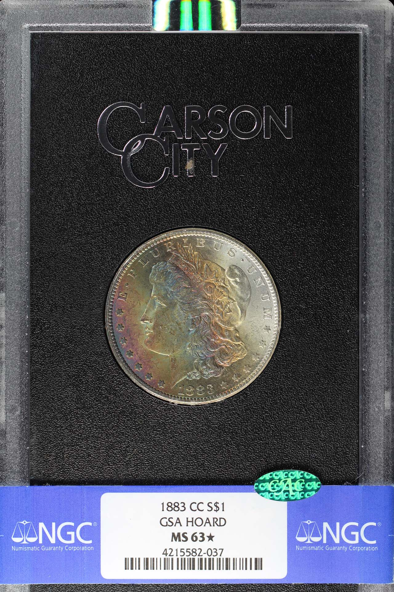 Obverse of 1883-CC GSA Morgan Dollar NGC MS-63 ★ CAC