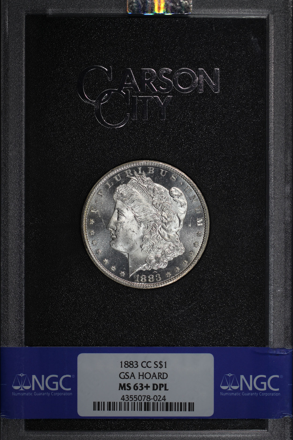 Obverse of 1883-CC GSA Morgan Dollar NGC MS-63 + DPL