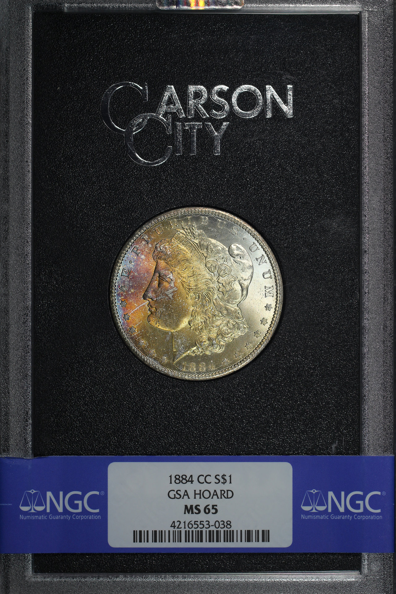 Obverse of 1884-CC GSA Morgan Dollar NGC MS-65