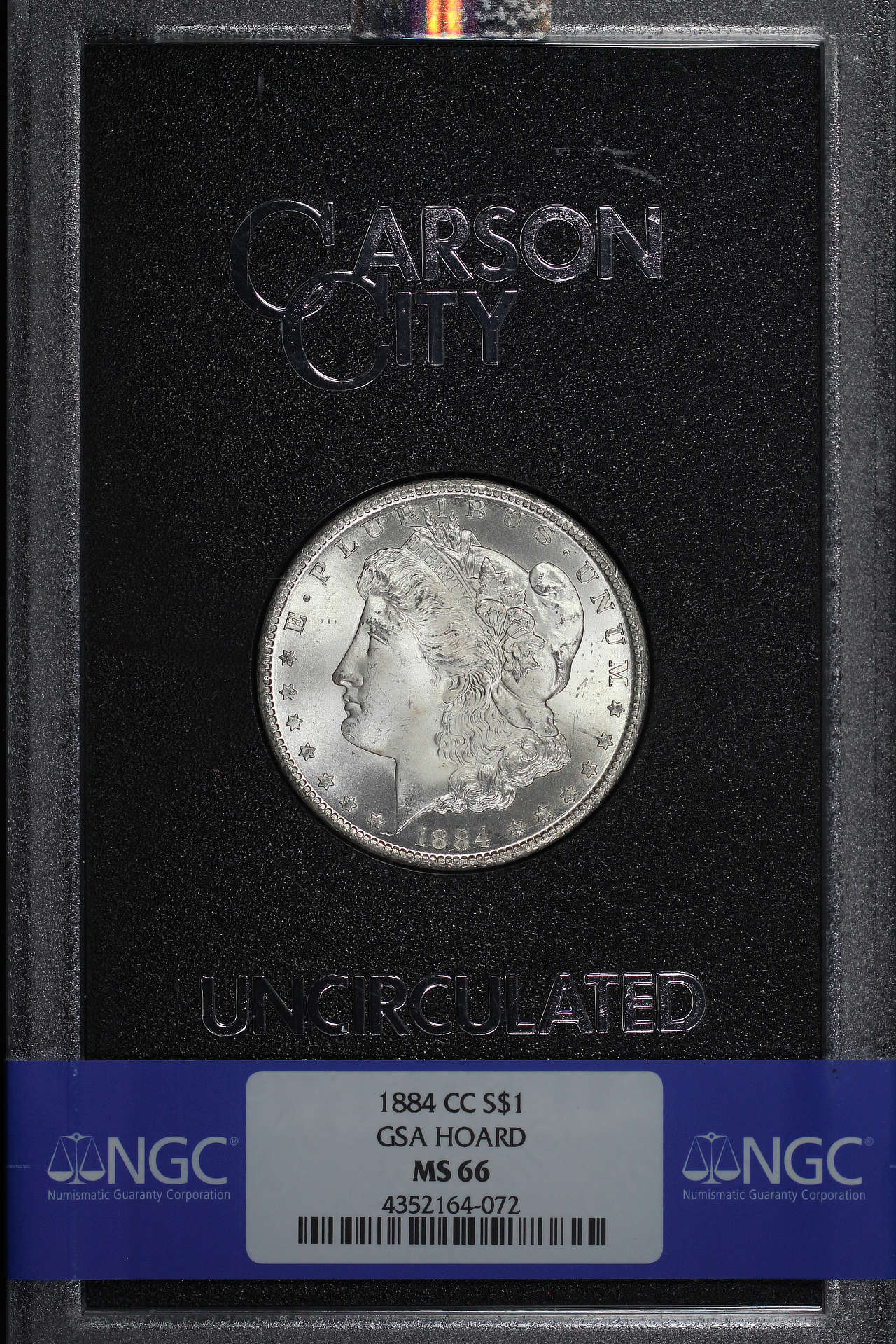 Obverse of 1884-CC GSA Morgan Dollar NGC MS-66