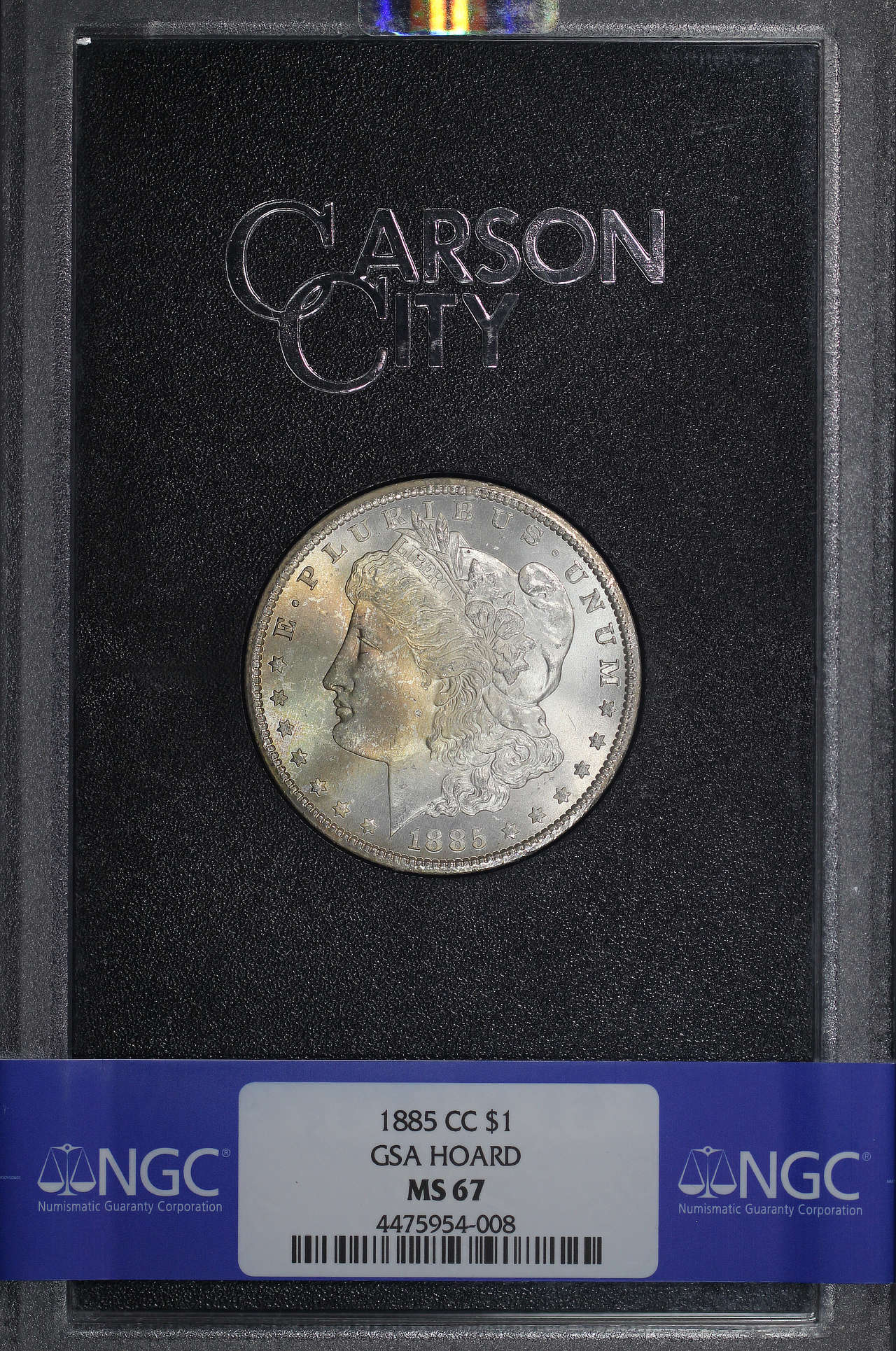 Obverse of 1885-CC GSA Morgan Dollar NGC MS-67