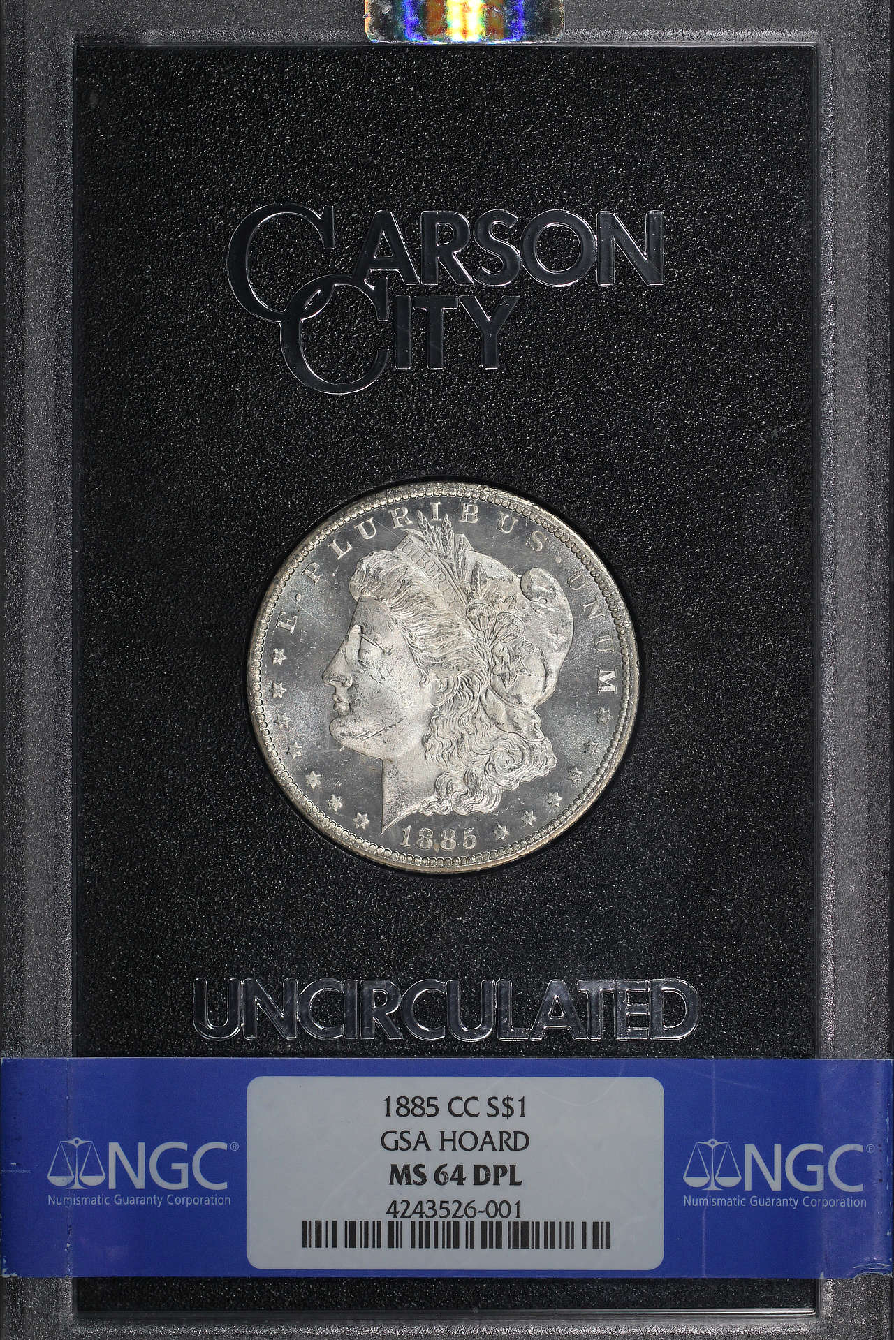 Obverse of 1885-CC GSA Morgan Dollar NGC MS-64 DPL