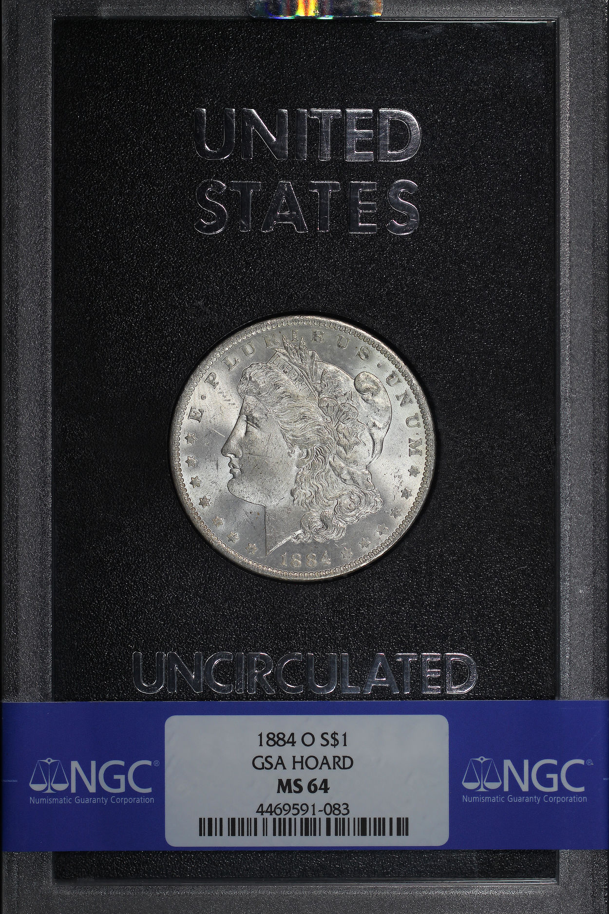 Obverse of 1884-O GSA Morgan Dollar NGC MS-64