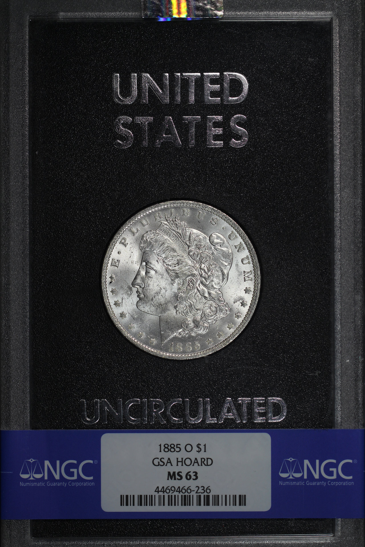 Obverse of 1885-O GSA Morgan Dollar NGC MS-63