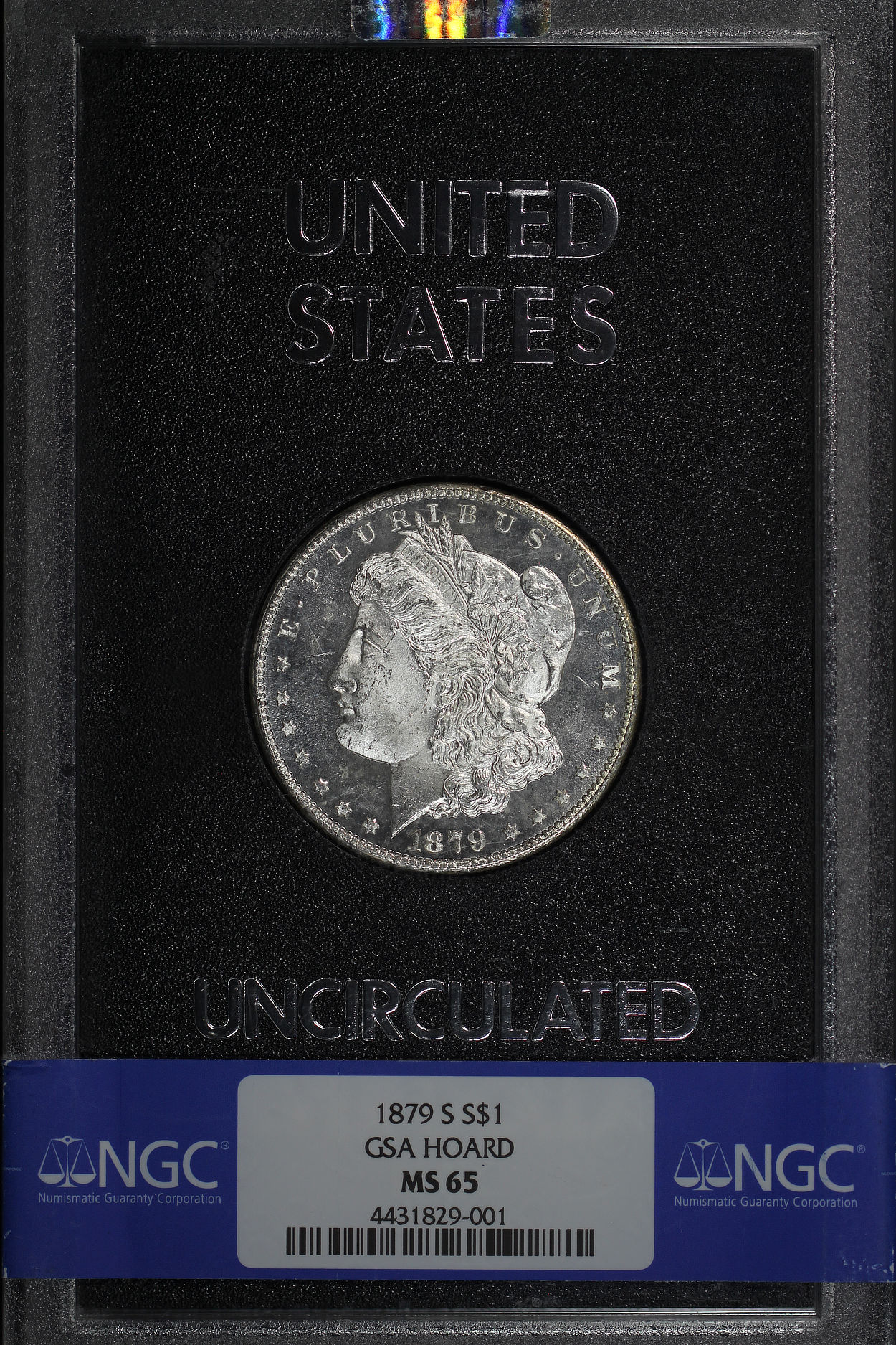 Obverse of 1879-S GSA Morgan Dollar NGC MS-65