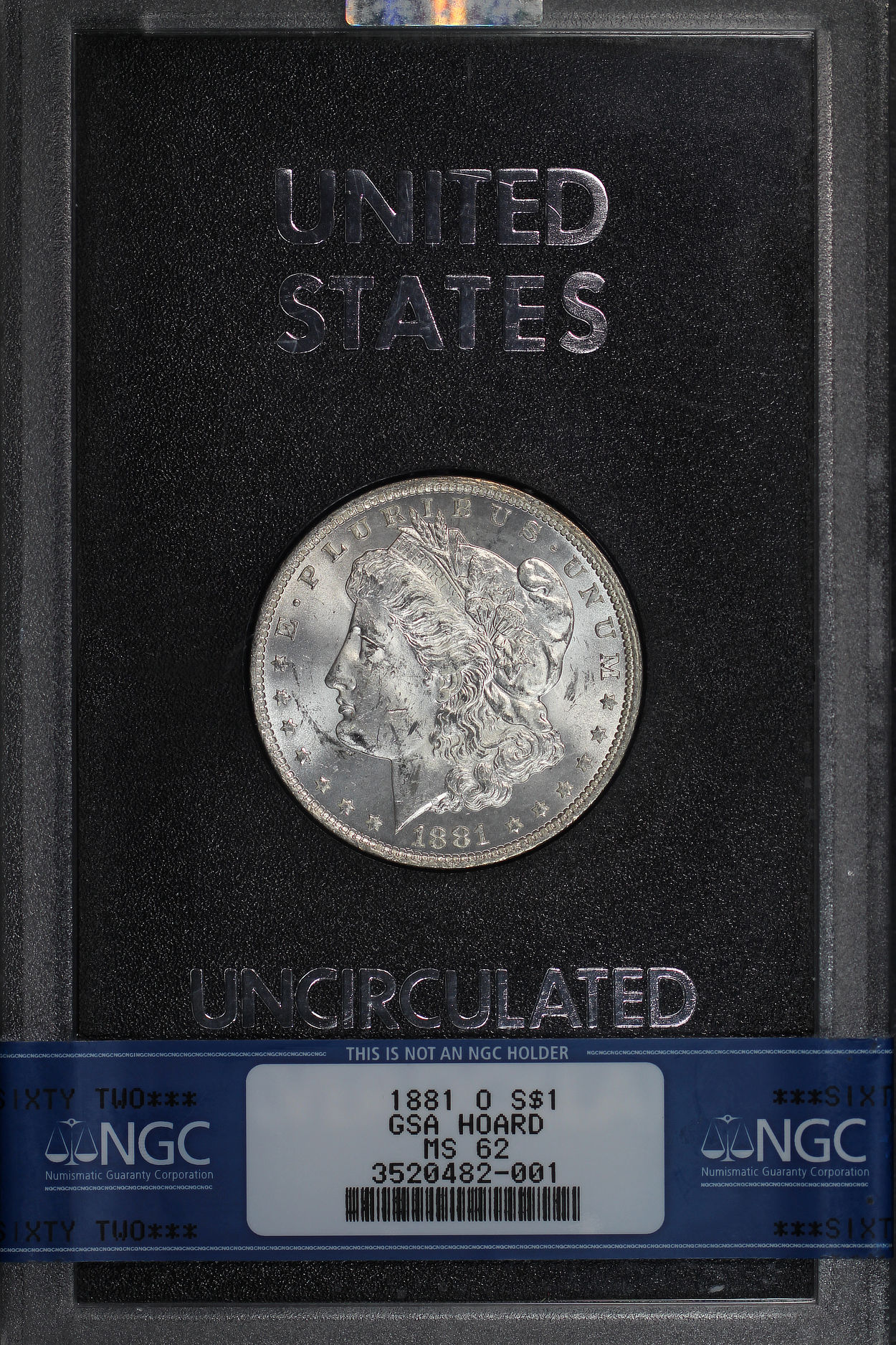 Obverse of 1881-O GSA Morgan Dollar NGC MS-62
