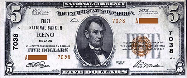 Image of a First National Bank of Reno Nevada 5 Dollar Bill
